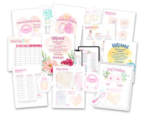 Baby care mockup of printables.