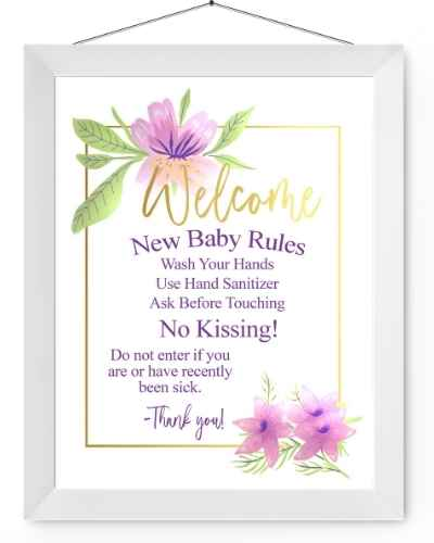 Purple floral new baby rules sign in white picture frame.
