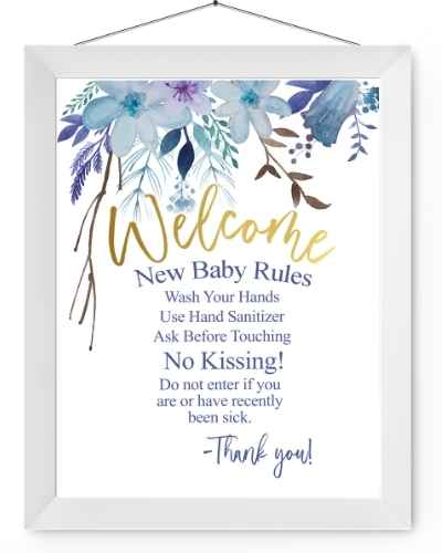 Blue floral new baby rules sign in a white picture frame.