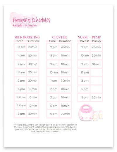 Pumping schedules mockup on paper.