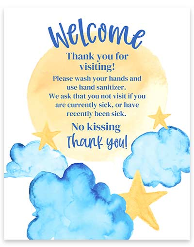 Watercolor new baby rules sign with sun, stars and blue clouds.