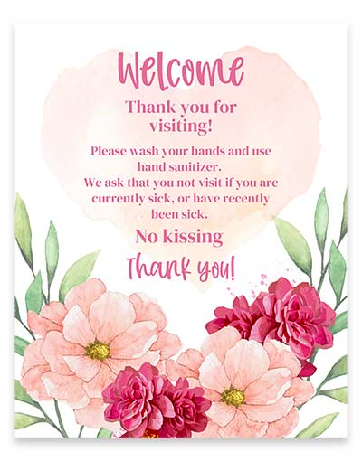 Welcome new baby rules sign mockup with watercolor florals.