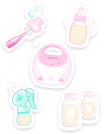 Mockup of 5 pumping stickers.