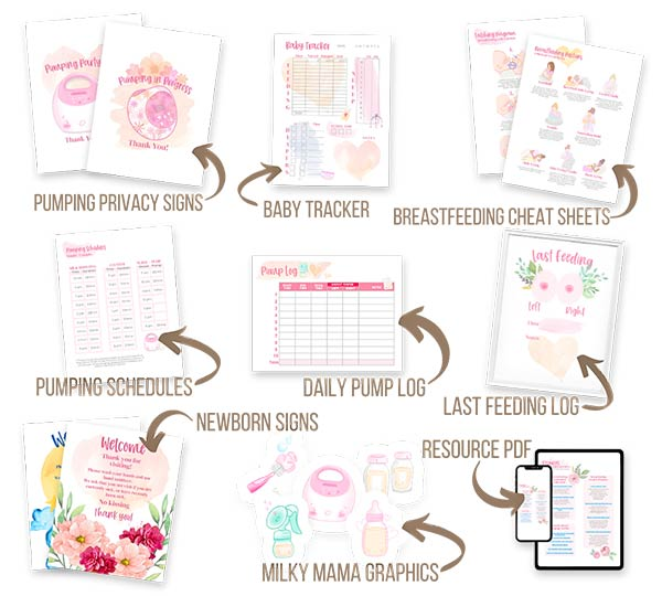 Baby care bundle mockup with arrows and description pointing to each item.