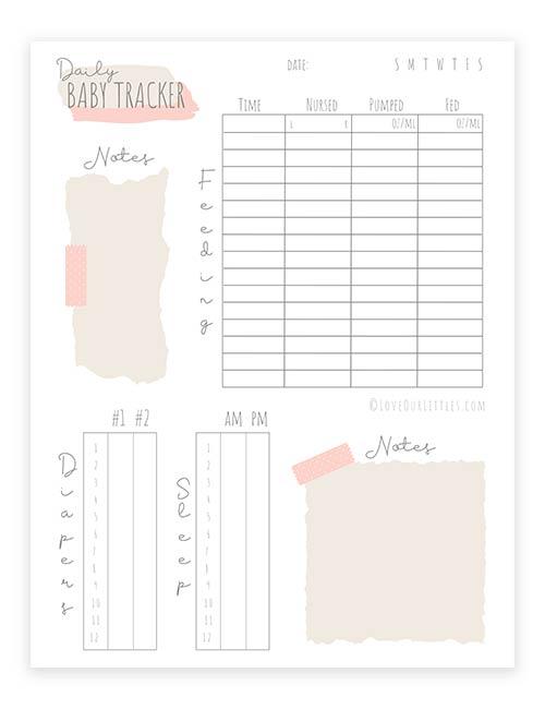 Baby tracker daily log sheet printable.