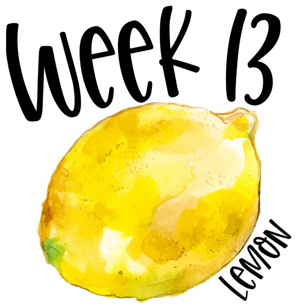 Watercolor lemon picture to compare baby size for week 13.
