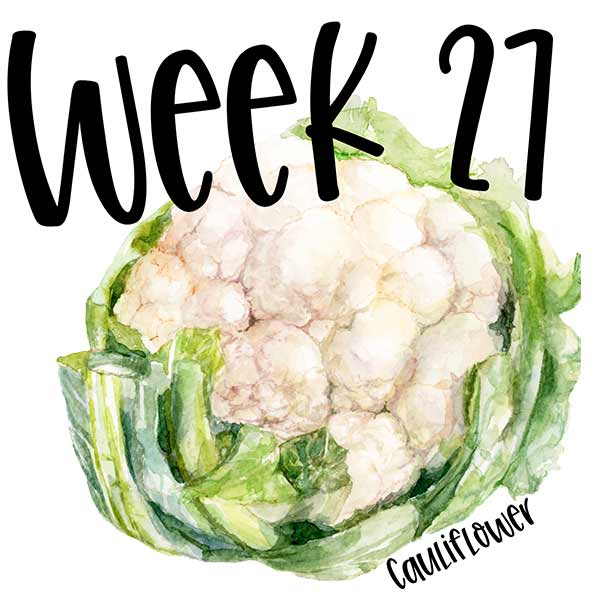 Baby size week 27 and an illustration of a cauliflower.