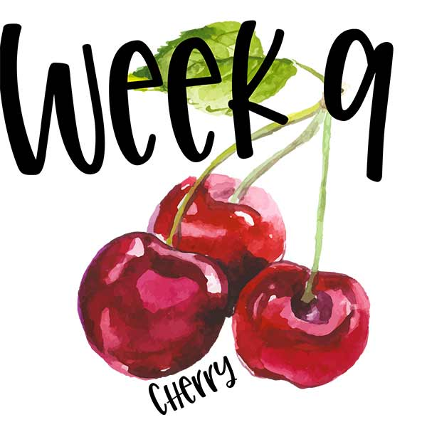 Baby size for week 9 compared to a cherry.