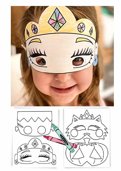 Fall craft for toddlers princess face mask craft.