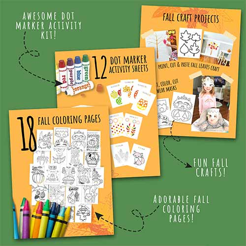 Fall activity kit coloring pages and learning sheets.
