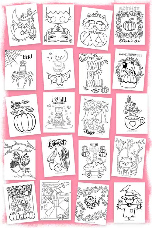 Printable fall coloring pages for kids, autumn coloring pages, pumpkin coloring pages, first day of fall coloring pages.