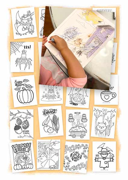 Coloring pages printables shown with a toddler coloring one.