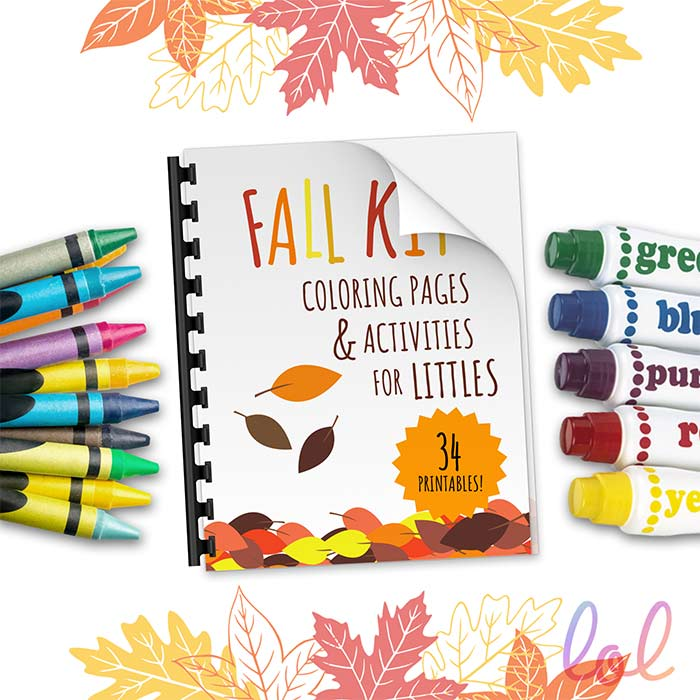 Fall kit coloring activities and crafts printables for toddlers.
