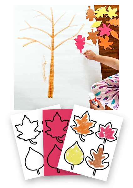 Fall leaves on tree craft for toddlers shown with printable pages.