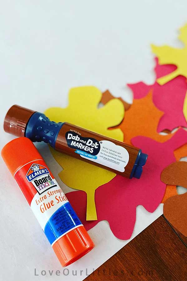 Fall leaves craft for toddlers supplies dot marker and glue stick