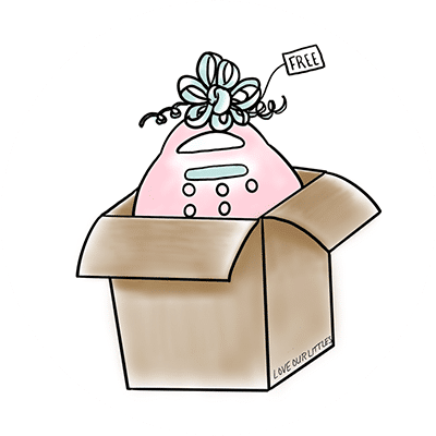 """Illustrated pink breast pump in a box that has a """"free"""" tag."""