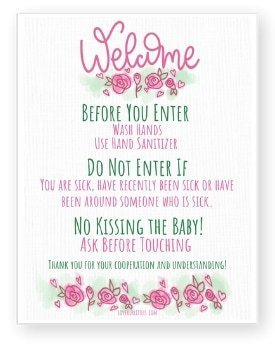 hand drawn new baby rules sign